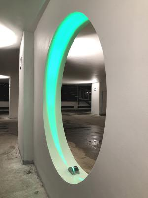 Lyss 1.0, 9W, customized version with green LED colour, clear 10°x180°, grey. Insel Hotel, Heilbronn, Germany. Light planning by VIA MODULAR
